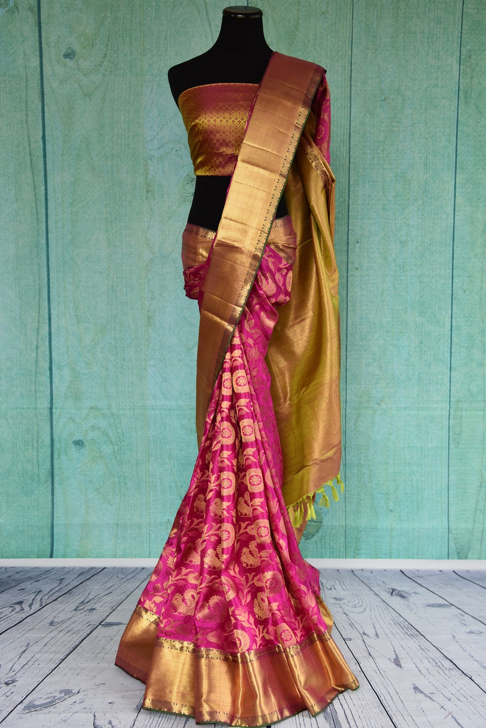 90D416 Striking kanjivaram saree, ideal for Indian weddings and festivals. Buy this pink saree with golden border, blouse and design online at our ethnic wear store in USA - Pure elegance.