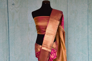 90D416 Striking kanjivaram saree, ideal for Indian weddings and festivals. Buy this pink saree with golden border, blouse and design at our online ethnic wear store in USA - Pure elegance.