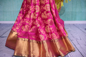 90D416 Classic kanjivaram sari, perfect for Indian weddings and festivals. Buy this pink saree with golden border, blouse and design online at our ethnic wear store in USA - Pure elegance.