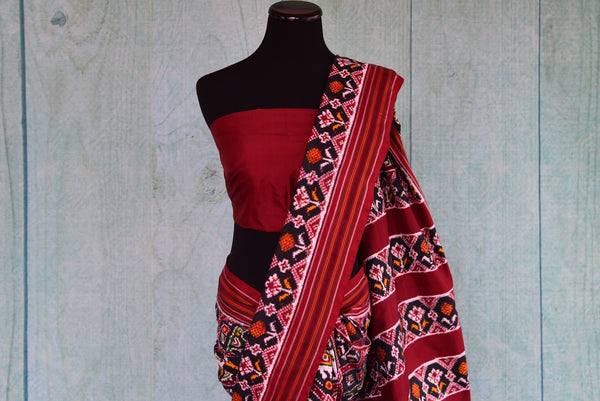 90D427 Red Black & White Patan Patola Saree With Pops Of Multi Color