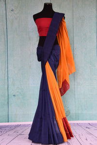 90D435 Blue, yellow & red, plain saree available at our ethnic fashion store Pure Elegance. The cotton ikkat saree makes for the ideal Indian party wear outfit.