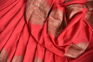 90D445 Beautiful tussar georgette saree perfect for Indian wedding functions. The stunning red & golden saree can be bought at Pure Elegance - our ethnic clothing store in USA.