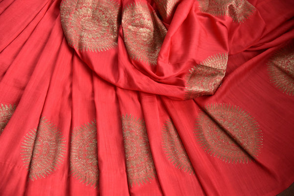 90D445 Traditional tussar georgette saree ideal for Indian wedding functions. The stunning red & golden saree can be bought at Pure Elegance - our ethnic fashion store in USA.