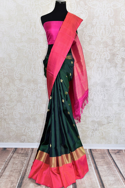 90D452 Green and Pink Kanjivaram Silk Buta Saree Online And In Store USA