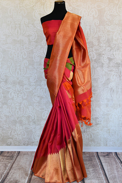 Reddish Pink Kanjivaram saree with gold pallu and broad border. This is half-n-half saree with pink and green checks after pleats.-Full view