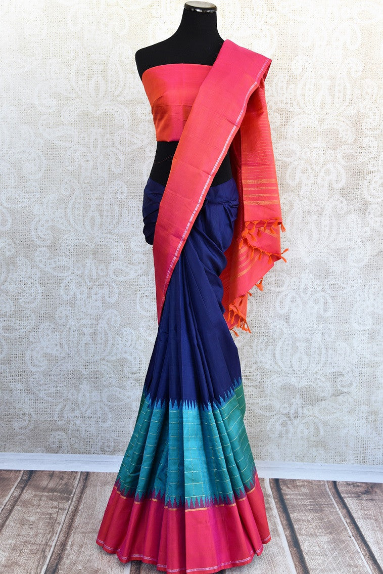 Pure and Elegant Navy and light blue with pink border and pallu kanjivaram silk sari available at pure elegance store in Edison,USA.This saree is real great buy-full view