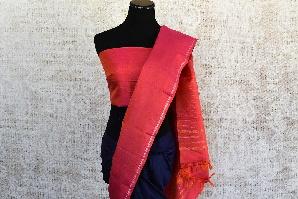 Pure and Elegant Navy and light blue with pink border and pallu kanjivaram silk sari available at pure elegance store in Edison,USA.This saree is real great buy-Pallu with blouse view