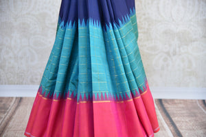 Pure and Elegant Navy and light blue with pink border and pallu kanjivaram silk sari available at pure elegance store in Edison,USA.This saree is real great buy-saree pleats