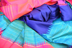 Pure and Elegant Navy and light blue with pink border and pallu kanjivaram silk sari available at pure elegance store in Edison,USA.This saree is real great buy-close up view