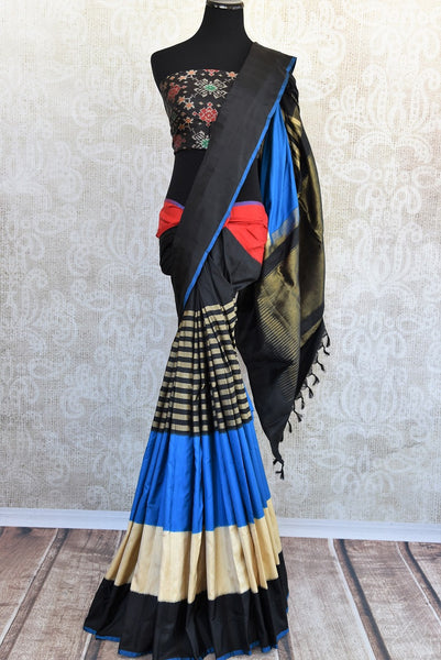Classic and glamorous black multi color Ikkat silk sari good for any kind of Indian parties available here in USA at our store in Edison and buy online USA-Full view
