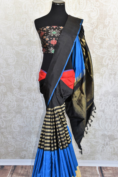 Classic and glamorous black multi color Ikkat silk sari good for any kind of Indian parties available here in USA at our store in Edison and buy online USA-close up with full view