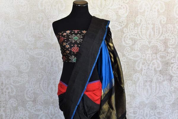 Classic and glamorous black multi color Ikkat silk sari good for any kind of Indian parties available here in USA at our store in Edison and buy online USA-Pallu
