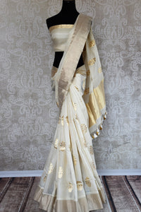 Off White Linen Banarasi Saree With Gold Buta From Pure
