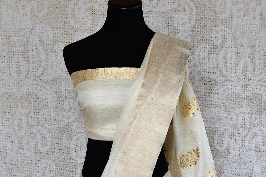 90D513 Off White Linen Banarasi Saree With Gold Buta From Pure Elegancen USA