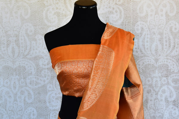 Organza Banarasi Blue and green checks with orange zari border with buta available online and in store, USA. This woven Sari is good pick for all Indian Events.-pallu