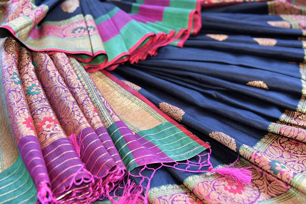 Black Tussar  banarasi saree with gold buta all over the body and beautiful multicolor border available at our Store, great buy for all Indian events parties.-close up