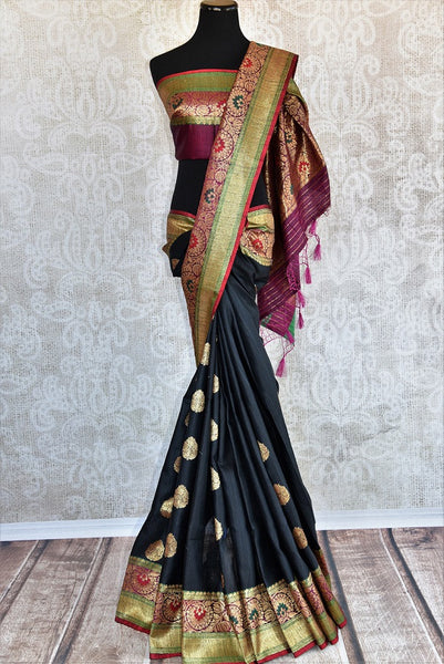 Black Tussar  banarasi saree with gold buta all over the body and beautiful multicolor border available at our Store, great buy for all Indian events parties.-Full view
