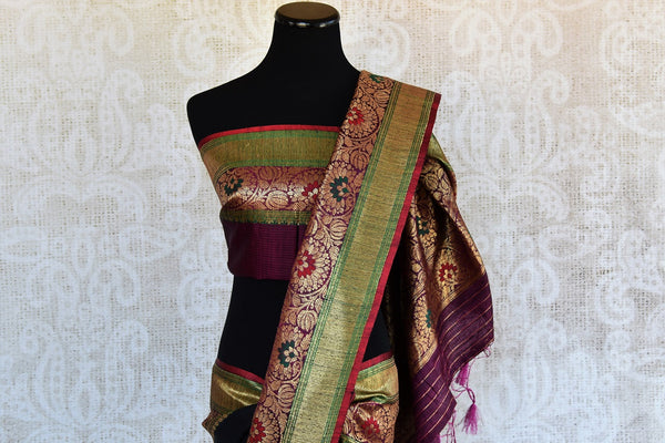 Black Tussar  banarasi saree with gold buta all over the body and beautiful multicolor border available at our Store, great buy for all Indian events parties.-pallu