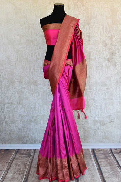 Buy Pink Banarasi silk with lovely gold border and pallu in store and online USA. Enhance your beauty with this classy sari in Indian wedding events and parties-Full View