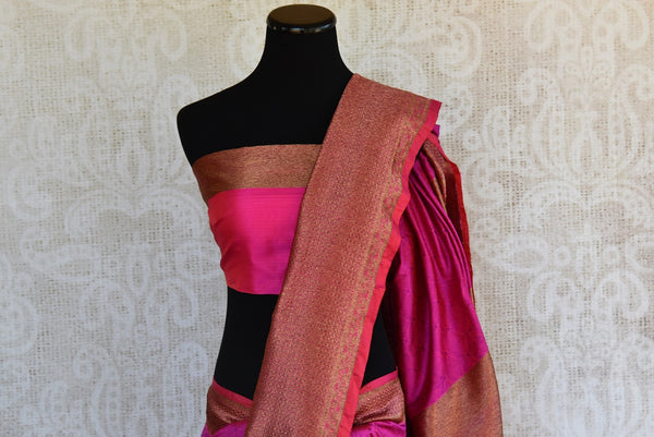 Buy Pink Banarasi silk with lovely gold border and pallu in store and online USA. Enhance your beauty with this classy sari in Indian wedding events and parties-pallu and blouse
