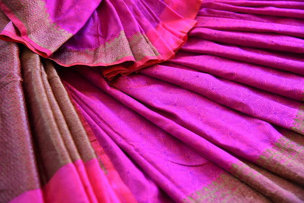 Buy Pink Banarasi silk with lovely gold border and pallu in store and online USA. Enhance your beauty with this classy sari in Indian wedding events and parties- close up view