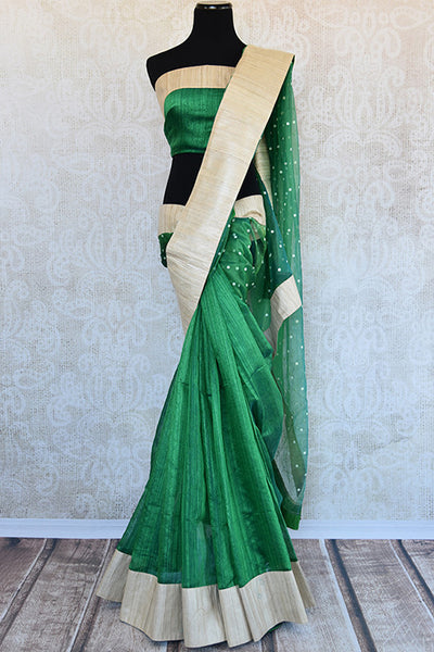 Buy this exquisite green matka silk Indian saree with gold ghicha border and pallu from Pure Elegance store with green matka silk blouse piece. Great for parties-Full View