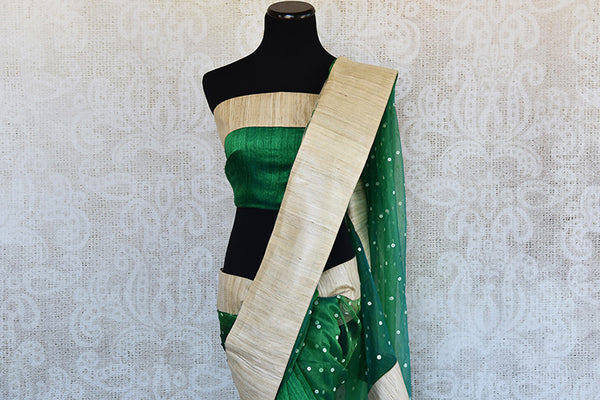 Buy this exquisite green matka silk Indian saree with gold ghicha border and pallu from Pure Elegance store with green matka silk blouse piece. Great for parties-Pallu and Border
