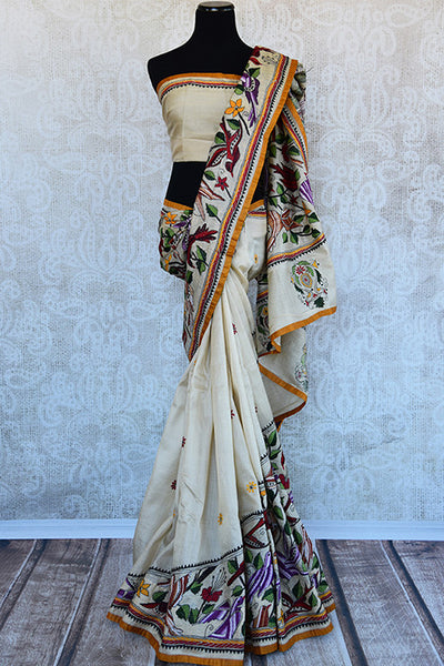 Buy this alluring beige kantha tussar silk Indian saree with printed floral design in pallu and border from Pure Elegance online, NJ. Great for festive occasions-Full View