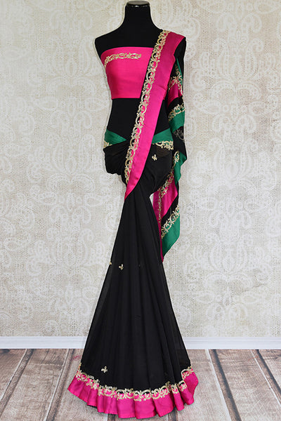 Designer black georgette embroidered  saree with pink and green satin silk border. Perfect party wear saree. -full view