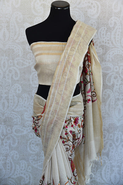 90D599 Beige Linen Thread  Full Jaal Embroidered Saree