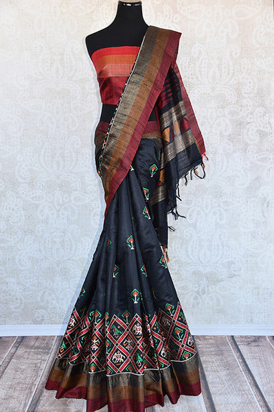 Black gadhwal silk with different color thread work embroidery saree. Perfect party style saree for Indian festivals and gatherings- Full view