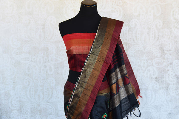 Black gadhwal silk with different color thread work embroidery saree. Perfect party style saree for Indian festivals and gatherings- Pallu