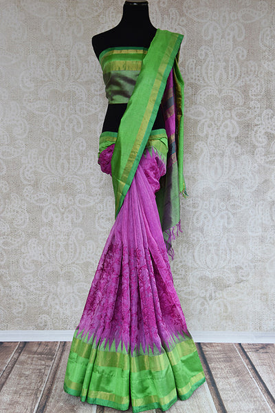 Buy this gorgeous pink matka silk Indian saree with threaded embroidery and green silk pallu and border from Pure Elegance store. Great for festive occasions-Full View