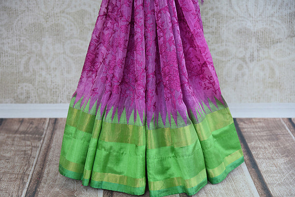 Buy this gorgeous pink matka silk Indian saree with threaded embroidery and green silk pallu and border from Pure Elegance store. Great for festive occasions-Border and Emroidery