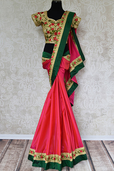 Pink red two tone silk saree with thread embroidery on above green border. This comes with shown designer fully embroidered blouse.-full view