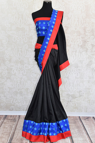 Pure Elegance's Black silk saree with blue and red concept work.. Classic bold and beautiful saree with perfect for Indian Parties.-Full view