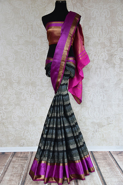 Buy this beautiful black tussar silk Indian saree with embroidery and pink silk pallu and border from Pure Elegance online with blouse piece. Great for festivals-Full View