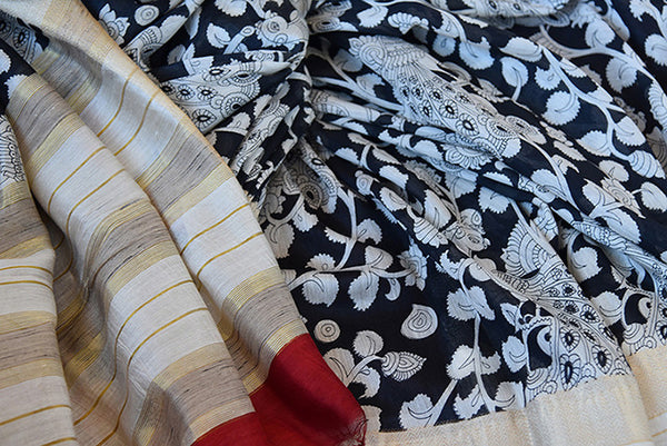 Buy this classic black printed linen Indian saree with white floral print gold beige border and red linen blouse piece from Pure Elegance store. Great for parties-Close Up