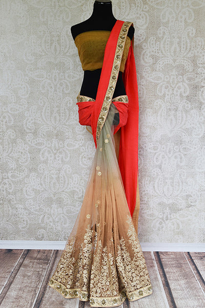 Buy Beige And Red Half n Half Net/Crushed Silk Saree With Zardozi Work-full view
