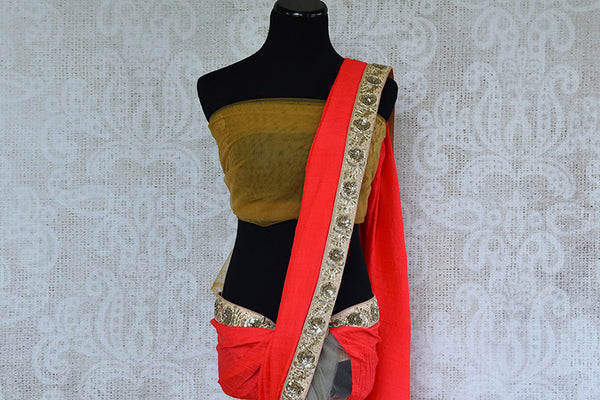 Buy Beige And Red Half n Half Net/Crushed Silk Saree With Zardozi Work-pallu
