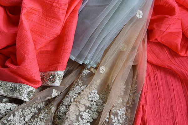 Buy Beige And Red Half n Half Net/Crushed Silk Saree With Zardozi Work- close up