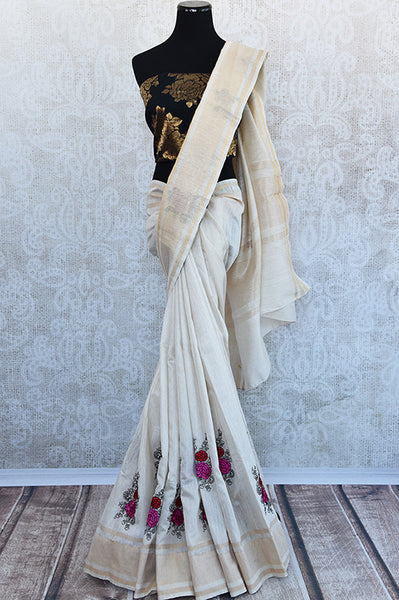 90D672 Off White Linen Saree With Beautiful Floral Thread Work Embroidery