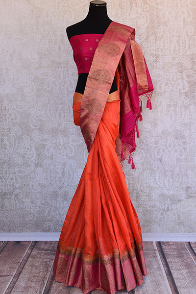 Orange matka banarasi saree with shiny pink banarasi buta border and pallu. Perfect for Puja and festivals.-Full view