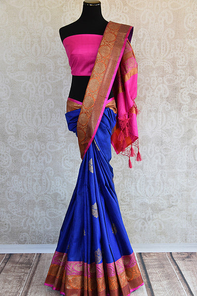 Ethnic blue and pink classic tussar banarasi saree with beautiful buta and lovely banarasi border and pallu.-Full View