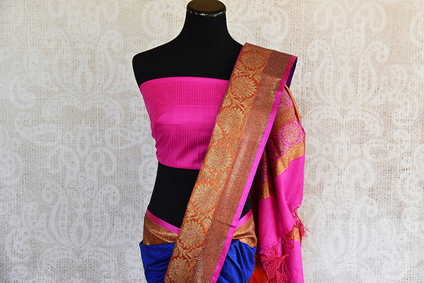 Ethnic blue and pink classic tussar banarasi saree with beautiful buta and lovely banarasi border and pallu.-banarasi border