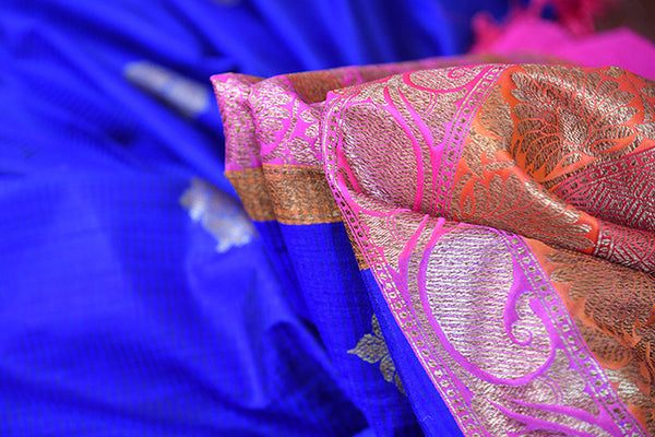 Ethnic blue and pink classic tussar banarasi saree with beautiful buta and lovely banarasi border and pallu.-close up