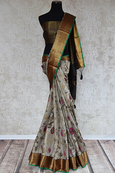 Buy this charming grey ghicha banarasi Indian saree with floral print and gold pallu border from Pure Elegance online with blouse piece. Great for festivals-Full View