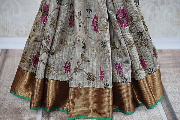 Buy this charming grey ghicha banarasi Indian saree with floral print and gold pallu border from Pure Elegance online with blouse piece. Great for festivals-Floral Print