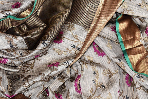 Buy this charming grey ghicha banarasi Indian saree with floral print and gold pallu border from Pure Elegance online with blouse piece. Great for festivals-Close Up