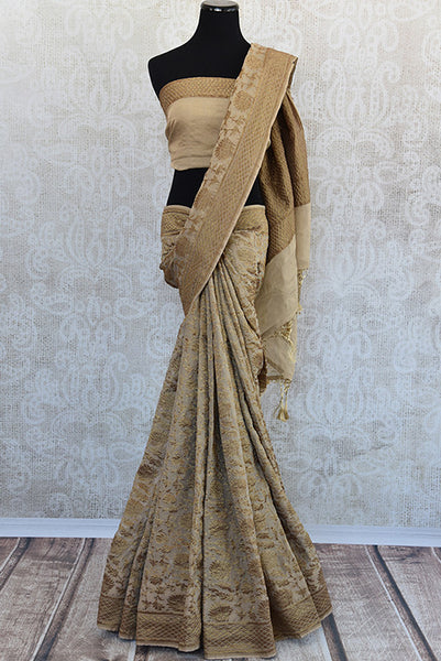 Beige Tissue silk saree with banarasi weave all over. Classy modern saree with traditional weaving ideal for Indian wedding.-Full view